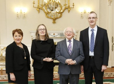 Bronagh O'Hanlon, Marie Baker, President Michael D Higgins, and Max Barrett.