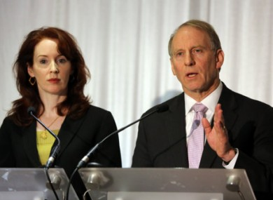 Megan O'Sullivan and Dr Richard Haass with talk to the media at the Stormont hotel in Belfast. (File)