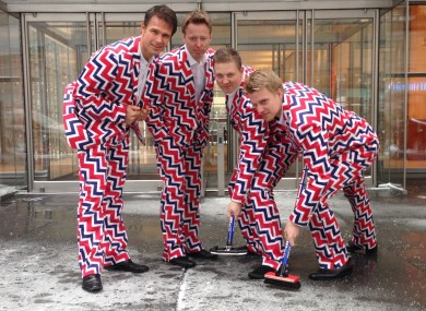 Norway's Men's Olympic Curling Team from left Thomas Ulsrud, Torgor Nergard, Christoffer Svae, and Havard Vad Petersson wear their new Sochi 2014 suits.