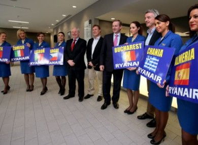 Ryanair cabin crew with Minister Michael Ring and Taoiseach Enda Kenny in November of last year.
