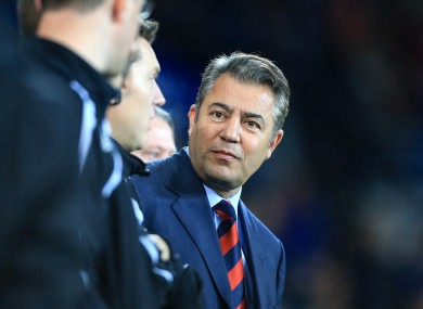 Mehmet Dalman in the stands at Cardiff City Stadium.