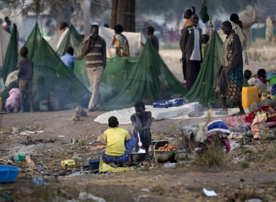 Displaced families in Awerial, South Sudan