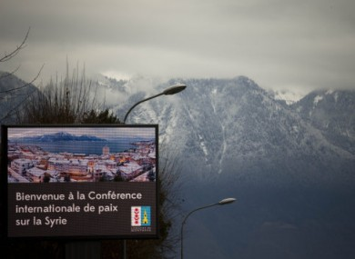 A giant screen at the entrance of the Swiss resort of Montreux welcomes to this week's Syria peace talks