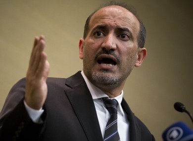 Ahmad al-Jarba, leader of the Syrian National Coalition (SNC), Syria's main political opposition group at a press conference in Geneva, Switzerland yesterday.