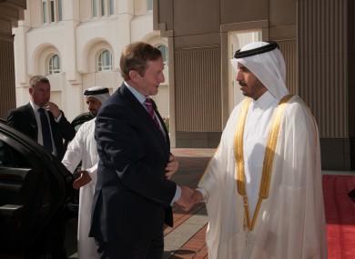 Taoiseach Enda Kenny being received by Qatari Prime Minister, H.E. Abdullah Bin Nasser bin Khalifa al Thani