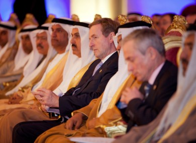 Enda Kenny and Richard Bruton at the Abu Dhabi Chamber of Commerce this week.