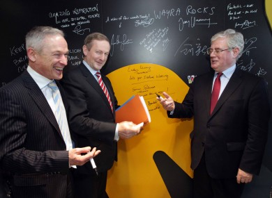 Richard Bruton, Enda Kenny and Eamon Gilmore TD, at the launch of the Action Plan for Jobs 2014.