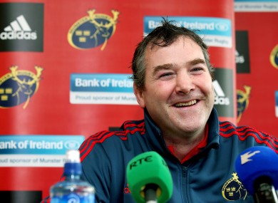 Forwards coach Anthony Foley at the announcement that he will become new Munster head coach as of July.