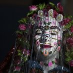 A Bulgarian Muslim bride, Kadrie Avdikova, has her face decorated with special wedding makeup at the end of two-day wedding ceremony in the Rhodope Mountains village of Ribnovo, 200 kms south from capital Sofia. The remote mountain village of Ribnovo in southwest Bulgaria has kept its traditional winter marriage ceremony alive despite decades of Communist persecution, followed by poverty that forced many men to seek work abroad. The wedding ritual was resurrected with vigour among the Pomaks -- Slavs who converted to Islam under Ottoman rule. The highlight of the ceremony is the painting of the bride's face, where in a private rite, her face is covered in thick, chalky white paint and decorated with colourful sequins. <span class=
