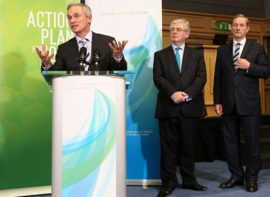 Richard Bruton with Tánaiste Eamon Gilmore and Taoiseach Enda Kenny (File photo)