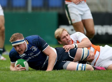 Gilsenan scores a try for Leinster 'A'.