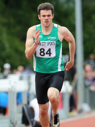 David Hynes in action. He is favourite for the 60m this weekend.