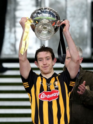 Kilkenny's David Langton lifts the cup.