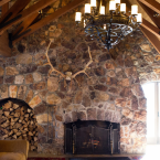 The home has five fireplaces with the largest one measuring in around 6 feet high.