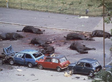 Horses lie dead after the bomb in Hyde Park.