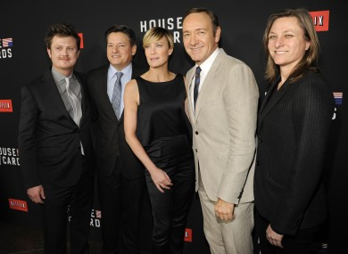 Writer Beau Willimon, from left, Netflix's Ted Sarandos, actress Robin Wright, actor Kevin Spacey and Netflix's Cindy Holland, arrive at a special screening for season 2 of House of Cards