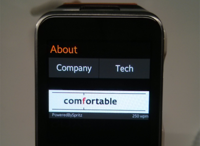 How Spritz would look on the Samsung Galaxy Gear 2 smartwatch.