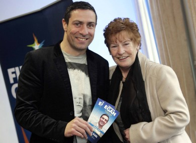 Kenny Egan with his mother Maura at his campaign launch today.
