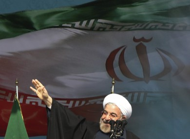 Iranian President Hassan Rouhani gives a speech in Tehran earlier this month.