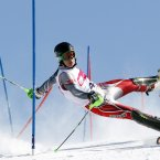 24 March 2013, Szczyrk, Poland: Competitor at a slalom contest.<span class=