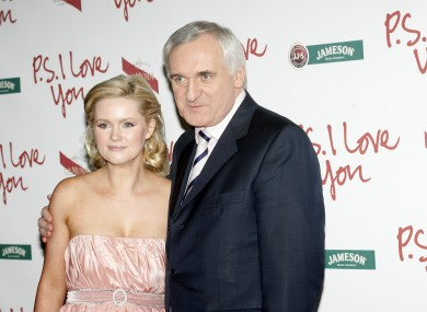 Cecilia with her father at the premiere of PS, I Love You in 2007