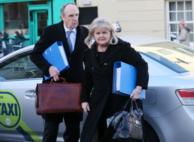 Chief Executive of Rehab, Angela Kerins arrives at Leinster House today with John McGuire, Director of Fundraising.