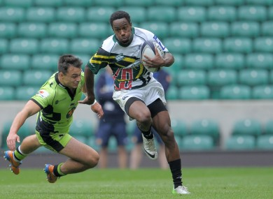 Carlin Isles beats Northampton's Tom Collins during the World Club Sevens at Twickenham last year.