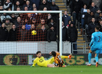 Hull City's Shane Long scores his side's first goal of the game.