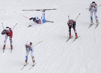 The women's quarter final heat of the cross-country sprint at the 2014 Winter Olympics