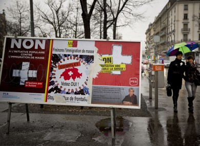 Anti- and pro-immigration posters in Geneva.