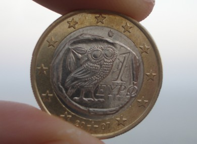 A Greek euro coin.