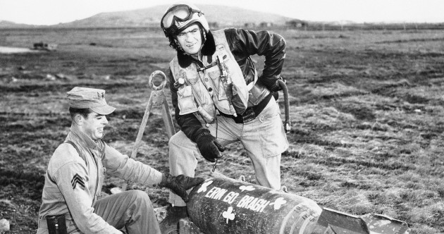 1953 St Patrick's Day photo shows US soldiers preparing Irish-decorated bomb