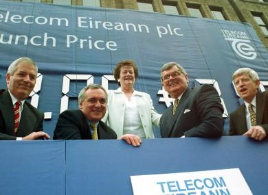 Fianna Fail figures at the original Telecom Eireann share posting