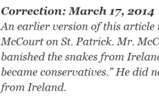 Brilliant St Patrick's Day correction from the New York Times