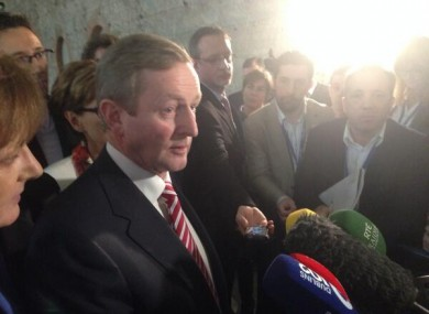 Enda Kenny speaking to the media at the Fine Gael Ard Fheis today