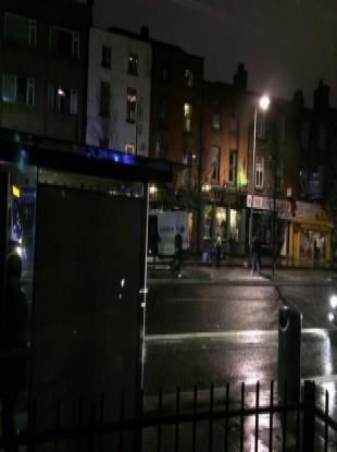 Scene tonight on Dorset Street