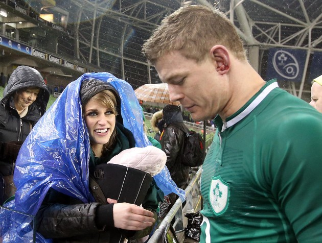 Brian O'Driscoll and his wife Amy Huberman with baby Sadie