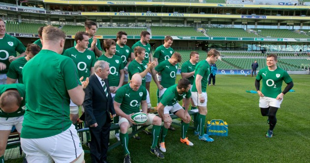 Snapshot: Brian O'Driscoll 'milks' the applause after leaving team waiting on squad photo
