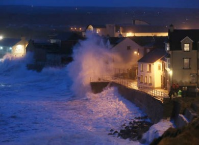 Gale force winds connect with high tide in Lahinch Co Clare. 1/2/2014