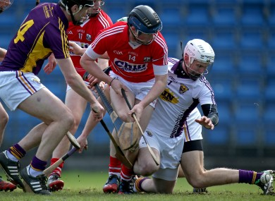 Conor Lehane finds the net for Cork against Wexford.