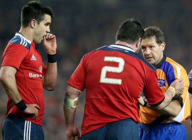 Munster's Varley questions one of Rolland's decisions.