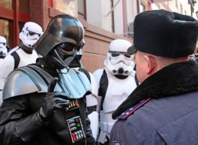 Darth Vader speaking to a potential constituent in Ukraine
