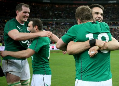 The Irish players celebrate victory in Paris.