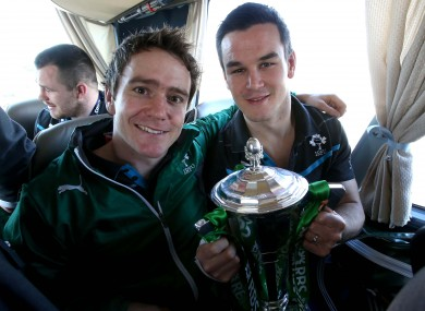 Eoin Reddan and Jonny Sexton with the Six Nations trophy.