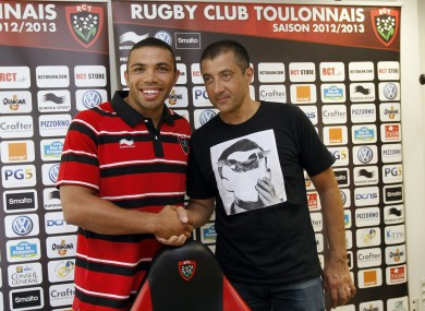 Mourad Boudjellal (right) after signing Bryan Habana.
