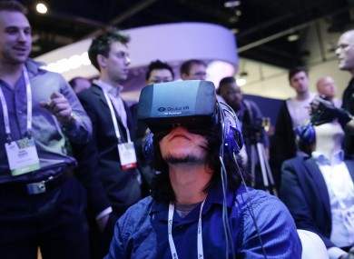 People using the Oculus Rift at the International Consumer Electronics Show (CES) in Las Vegas.