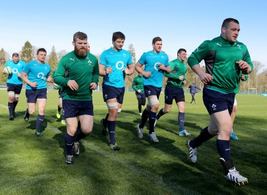 Gordon D'Arcy, Ian Henderson, Robbie Diack and Cian Healy in training.