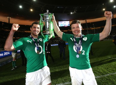 Rob Kearney and Brian O'Driscoll with the Six Nations trophy.