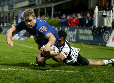 Luke Fitzgerald dives over for his second try.
