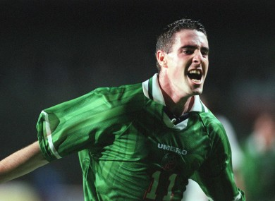 Mark Kennedy celebrates scoring Ireland's winning goal in the 1999 encounter.